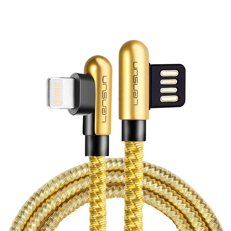 Lensun Metal USB Cable For Lightning - Gold
