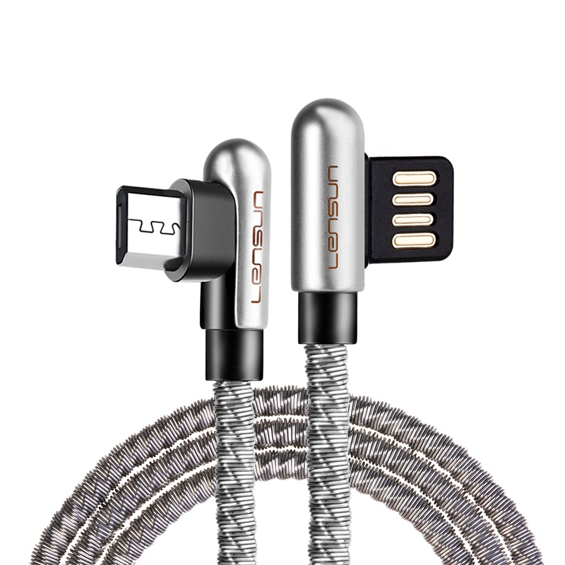 Lensun Metal USB Cable For Micro - Silver